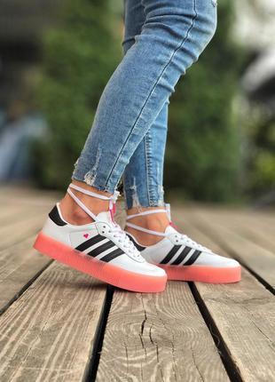 Adidas samba white pink белые женские ботинки наложенный платё...