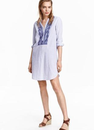 Стильное хлопковое платье с вышивкой вышиванка