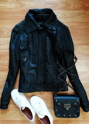 Женская демисезонная куртка - жакет из натуральной кожи - разм...