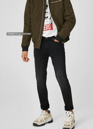 Чёрные мужские джинси скинни w32l32