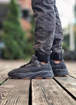 Adidas yeezy boost 700 black чёрные мужские ботинки наложенный...