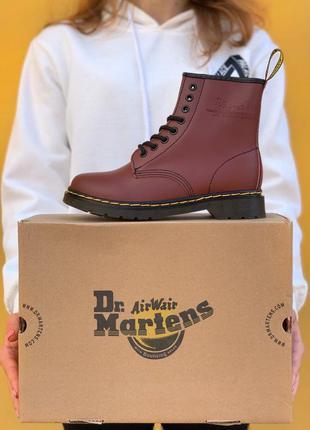 Кожаные бордовые ботинки dr. martens 1460 cherry шкіряні черев...