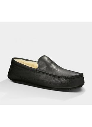 Мужские мокасины УГГ/ Оригинал/UGG Ascot  Leather Black-106
