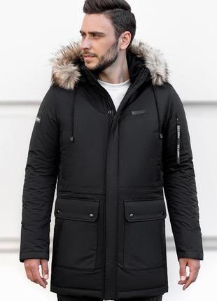 Мужская зимняя куртка аляска черная