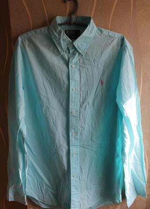 Яркая красочная бирюзовая мужская рубашка ralph lauren slim fit