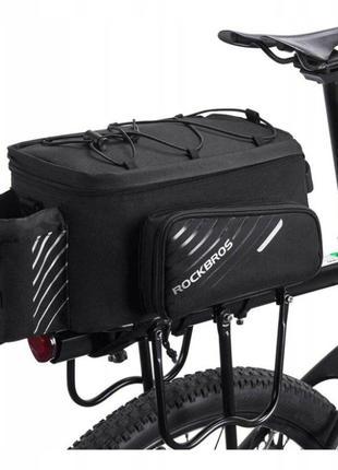 Велосумка на багажник RockBros 9-12L с дождевиком, велосипедна...
