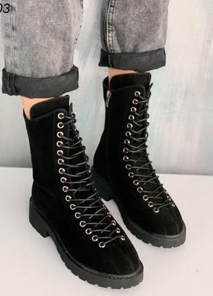 Стильные черные теплые демисезонные ботинки