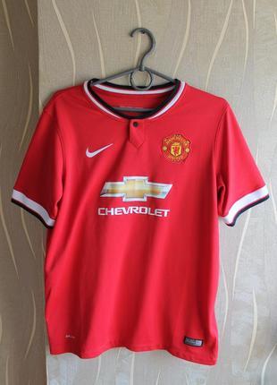 Изумительная детская красная футбольная футболка nike manchest...
