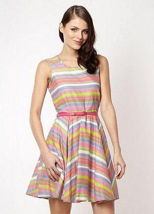 Сарафан платье в неон полоску яркое полосотое по фигуре талия ...