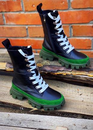 Ботинки женские на шнуровке в стиле боттега