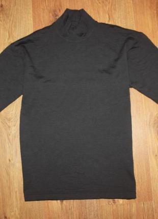 Серый мужской шерстяной гольф kakeck s-m 100% шерсть