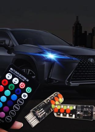 Лампы габаритов RGB LED T10 W5W + пульт / Цветные ходовые огни