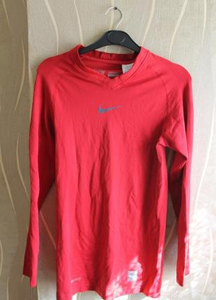 Топовая мужская компрессонная кофта красного цвета nike pro