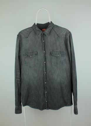 Стильная джинсовая рубашка hugo boss slim fit denim shirt