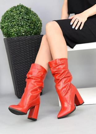 Сапоги красный цвет кода каблук средний