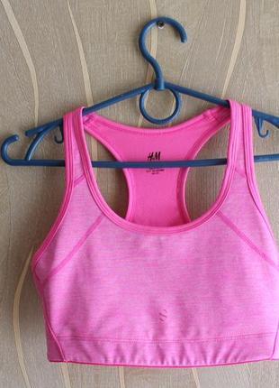Ярконасыщеный женский розовый топ для спорта h&m