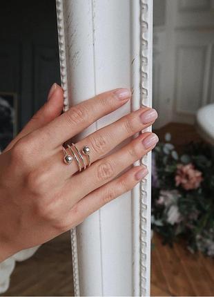 Кольцо серебро 925 шарики поцелуйчик ак81397