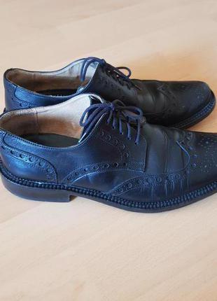 Мужские кожаные итальянские туфли Bata броги оксфорды 40 р черные