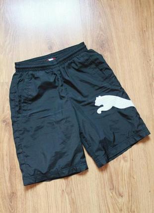 Легкие подростковые шорты с карманами с большим лого puma