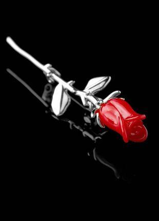 """Изысканная брошь """"красная роза"""" серебристая"""