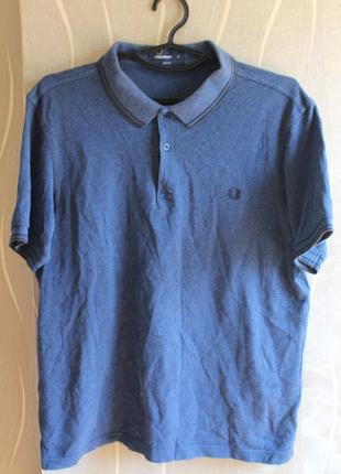Изумительная темно синяя футболка поло с воротником fred perry...