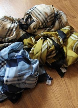 Невесомые шелковые платки в клетку в стиле burberry