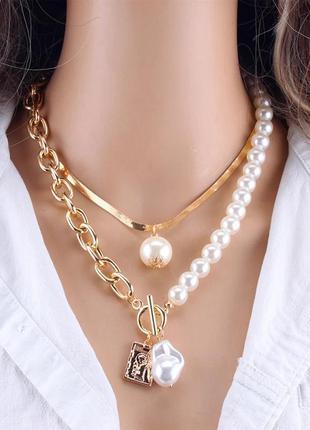 Ожерелье колье чокер многослойная цепочка золотистая с подвеск...
