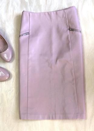 Качественная юбка с искусственной кожи new look, р.16