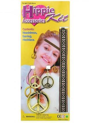 Маскарадный набор хиппи: повязка на голову кулон серьги