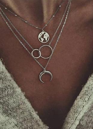 Ожерелье колье чокер многослойная цепочка серебристая с подвес...