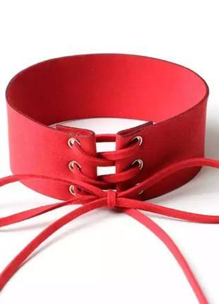 Чокер красный широкий на шнуровке