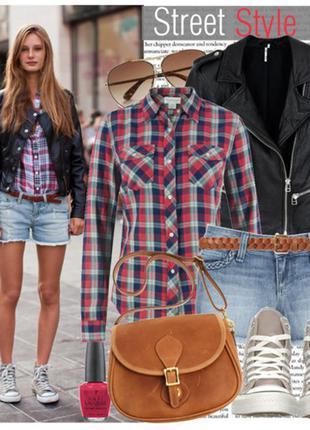 Шифоновая клетчатая рубашка/блузка amisu  новая германия