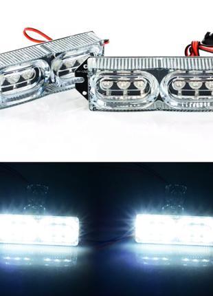 LED стробоскопы 2х6 (крепление под решетку/бампер) - БЕЛЫЙ