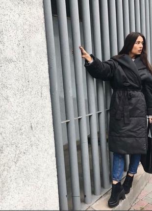 Фирменный пуховик/куртка-халат MONOCHROME