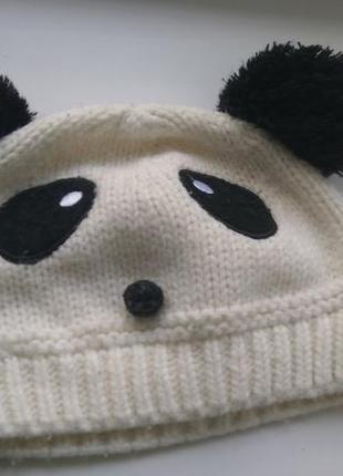 Теплая шапка шапочка панда   белая прикольная 3-6 лет