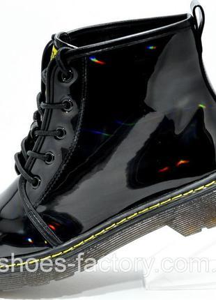 Женские ботинки Доктор Мартинс, Чёрные (Лакированные), купить