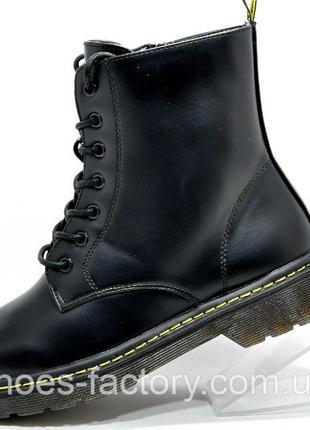 Женские кожаные ботинки Доктор Мартинс (Dr. Martens), Чёрные, ...