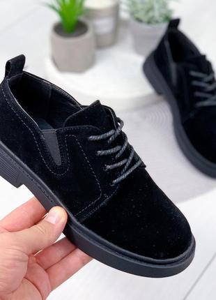 Черные женские туфли на шнурках и низком ходу эко замша, туфлі...