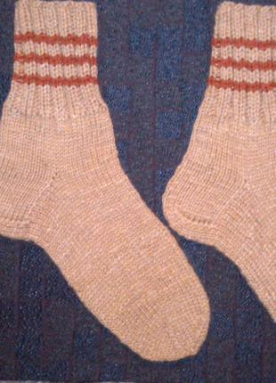 Вязаные шерстяные носки, ручная работа. Длина по стопе 30 см.