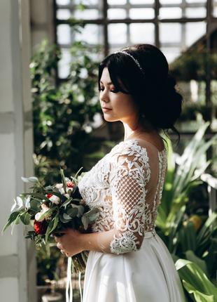 Шикарное свадебное платье! Ручная работа!