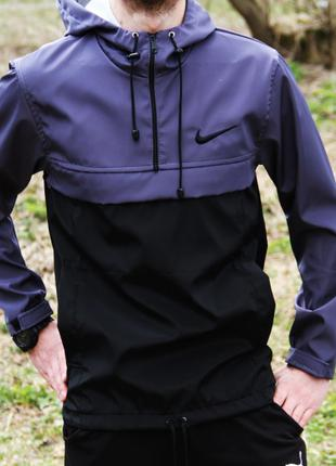 Анорак Nike черно-серый