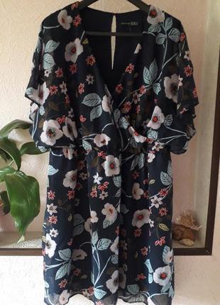 Женское летнее шифоновое платье на запах цветочный принт больш...