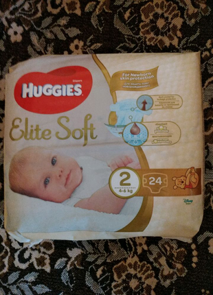 Памперсы Huggies Elite Soft 2, 4-6 кг, 24 шт