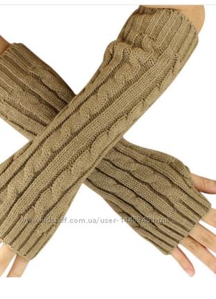 Митенки вязаные длинные перчатки женские! 💜