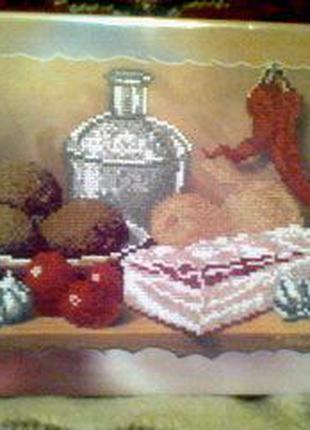 Натюрморт с салом картина вышивка ручная работа 22*28см