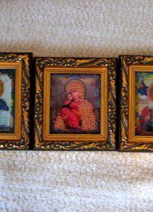 3 иконы Иисус, Божья Матерь и Святой Николай шелк, ручная рабо...