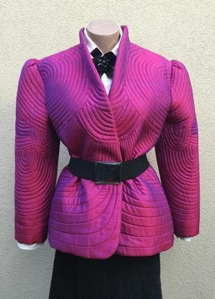 Эксклюзив,тайский шёлк,стеганая куртка на утеплителе,жакет,пиджак