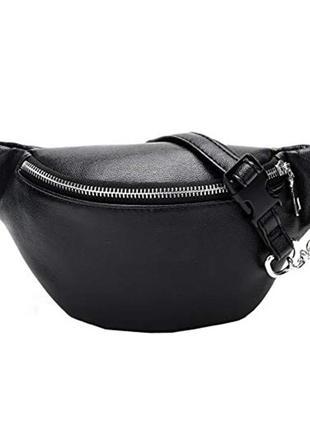 Сумка бананка / поясная сумка  черная