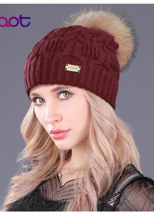Зимняя шапка с ангорой. помпон- натуральный мех,новая! ❤️