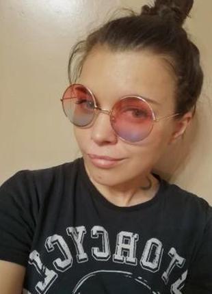 Солнцезащитные круглые очки, окуляри, в металической оправе ха...